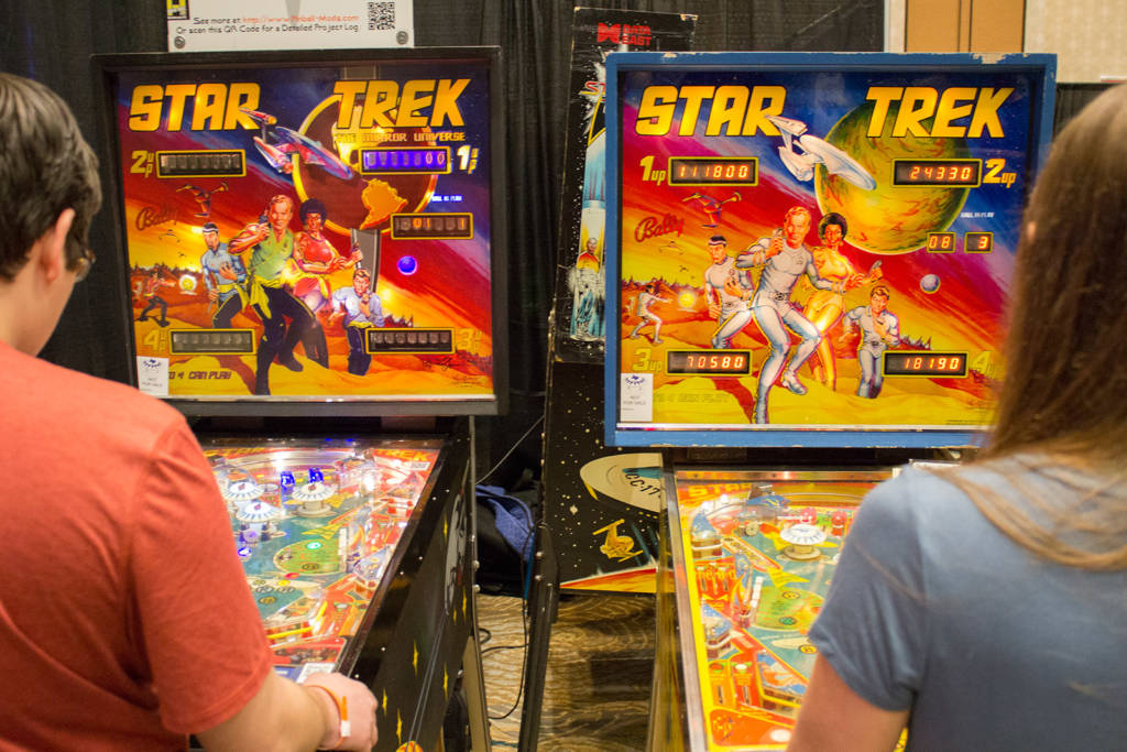 The Bally Star Trek, with the Mirror Universe model on the left