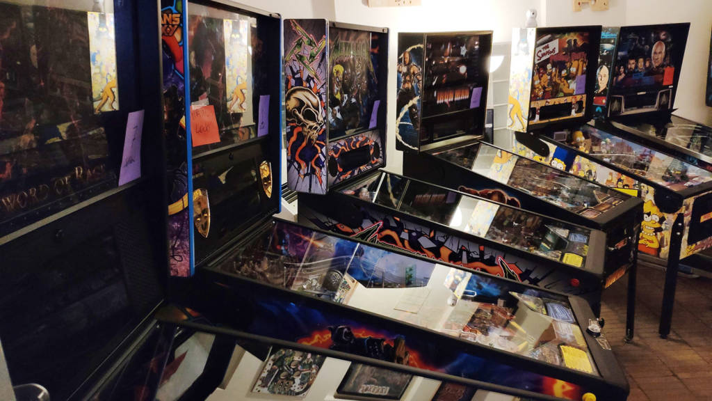 Some of the UK Pinball Open 2019 machines before the tournament began
