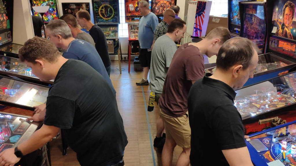 Players in Saturday's rounds of the UK Pinball Open 2019