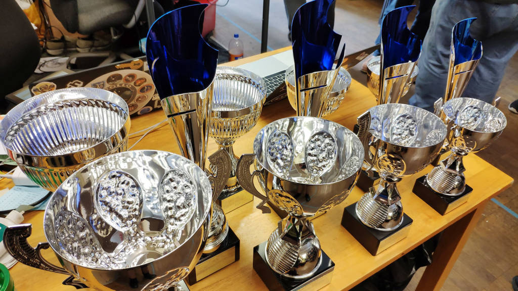 The trophies for the tournaments