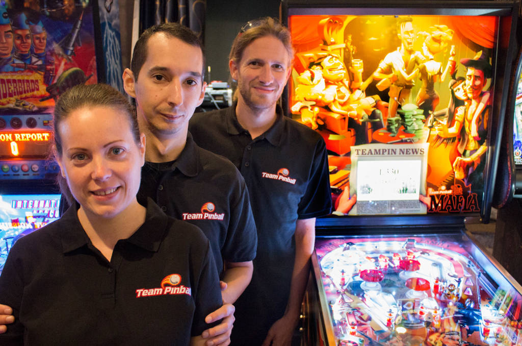 The Team Pinball team with their new The Mafia game