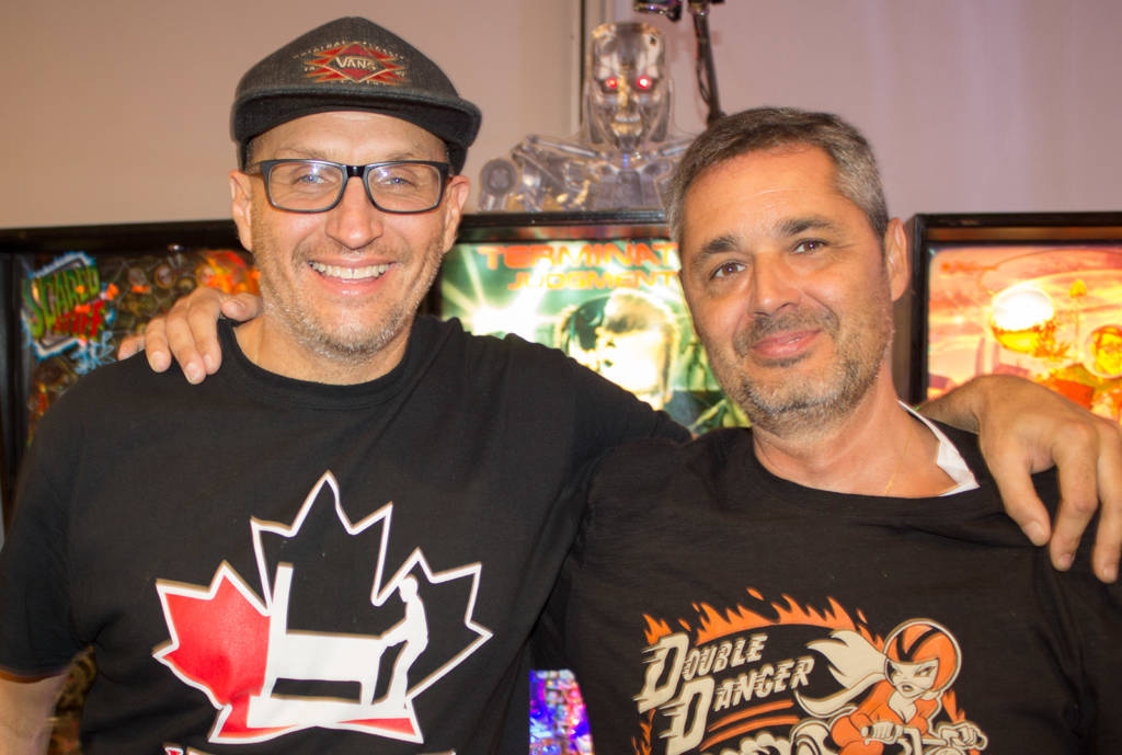 The two finalists in the UK Pinball Open - Rich Mallett and Rafael Masedo