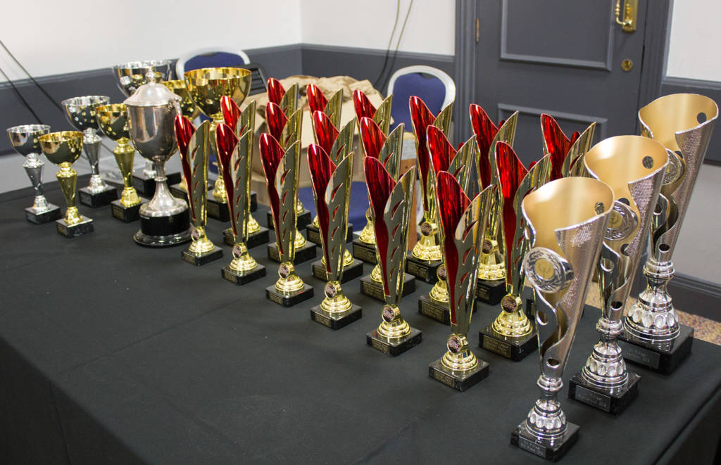 Trophies for the main tournament and UK Pinball League