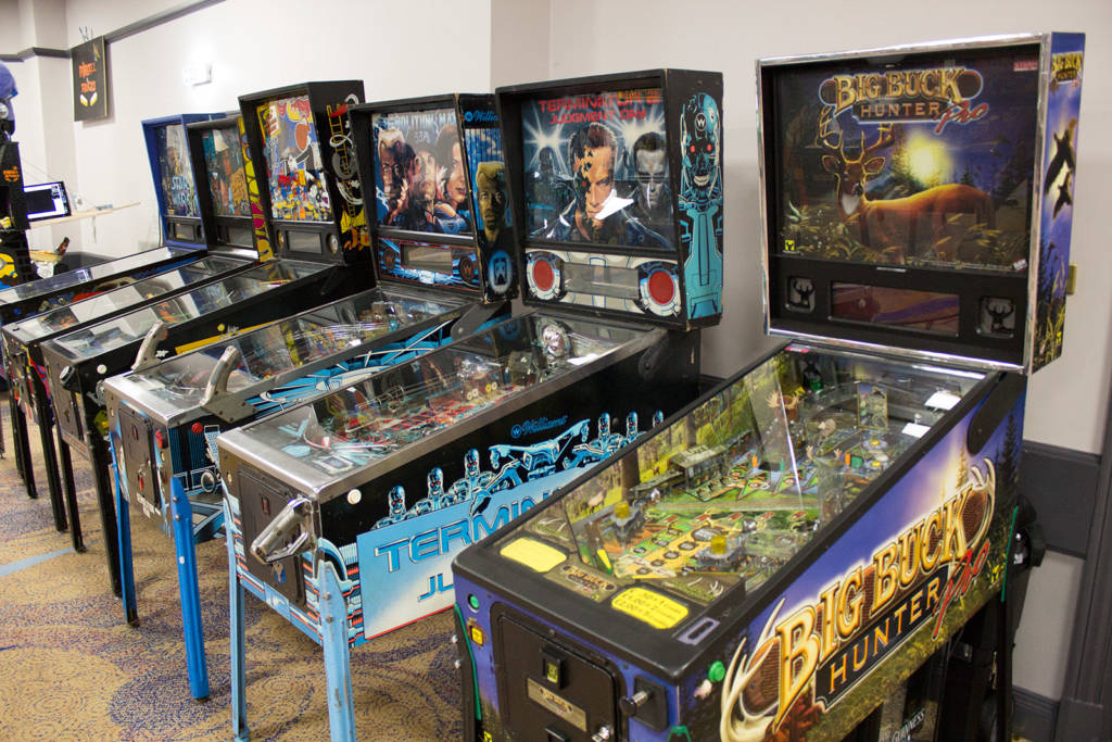 Some of the many pinballs at UKPinfest 2019