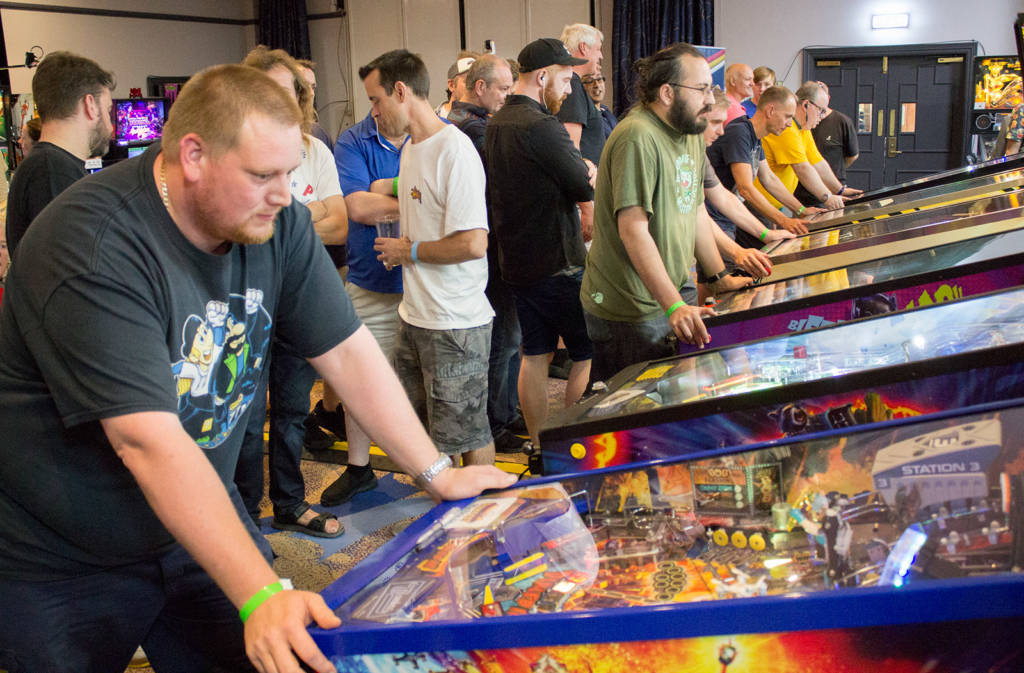 Matthew Vince playing in the UK Pinball League's A-Division finals