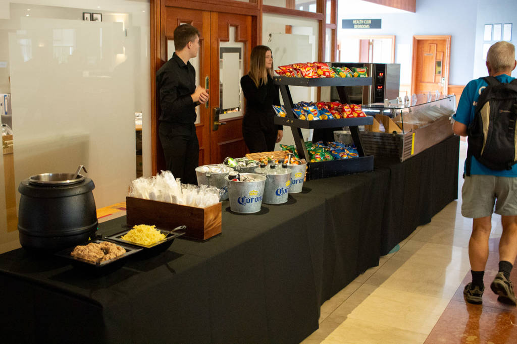 The pop-up food service in the lobby