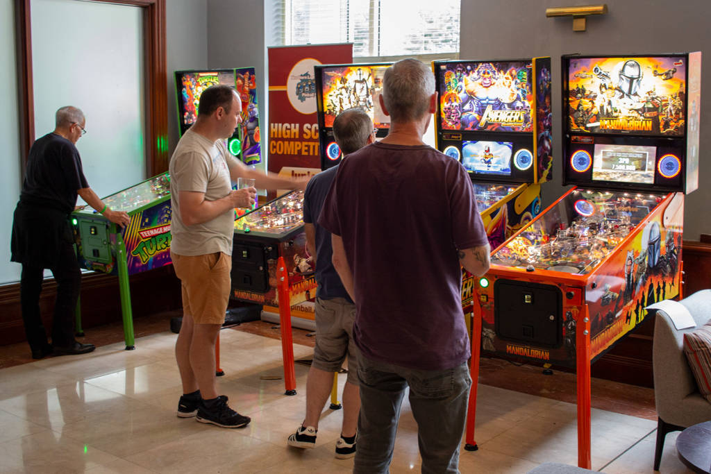 The High Score Tournament and pay-to-play pinballs in the hotel's lobby