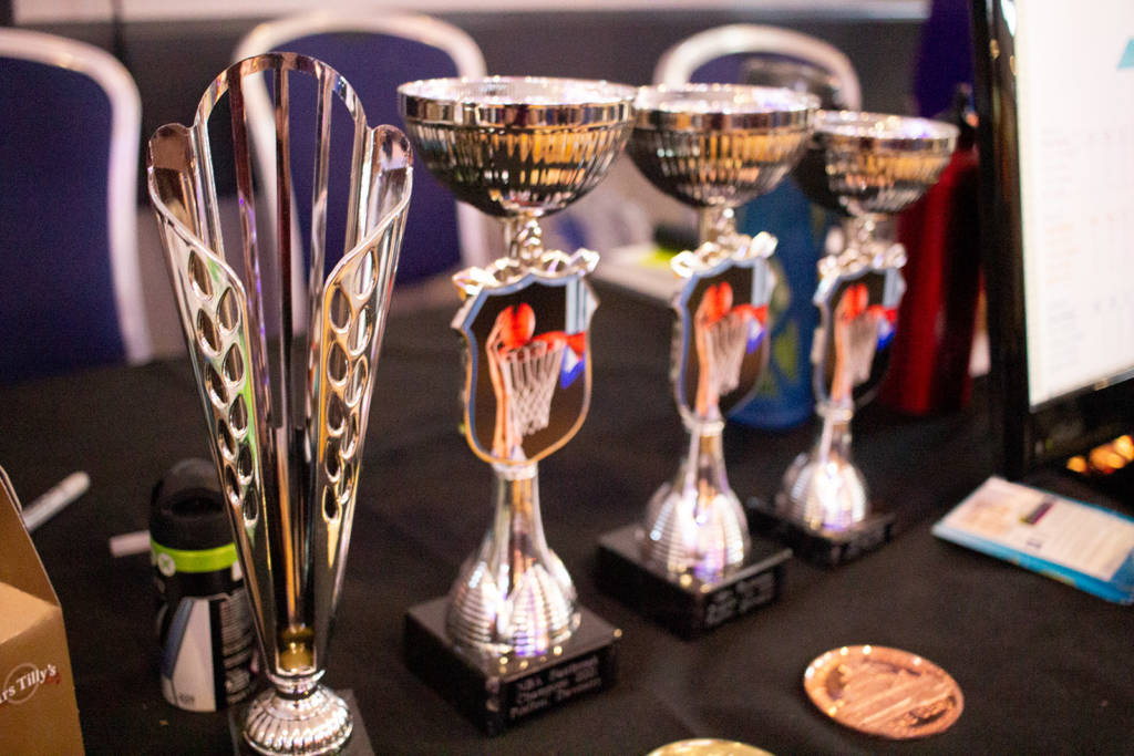 Trophies for the top players in the NBA Challenge
