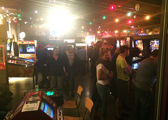 The arcade had many pinballs and vids, all set to free play for the VIP Party