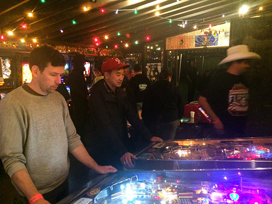 VIP Party guests enjoying the free play pinballs