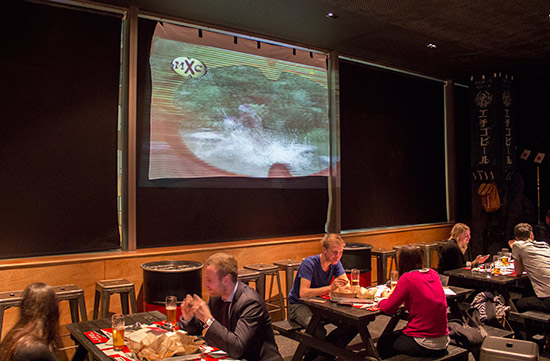 Japanese TV is shown on the big screen