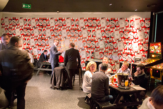 Asahi beer boxes line the walls and act as table mats
