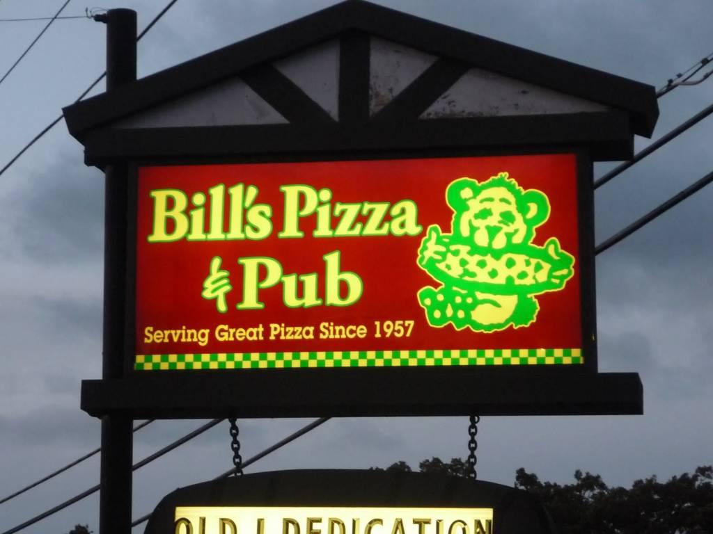 The exterior signage at Bill's Pizza & Pub