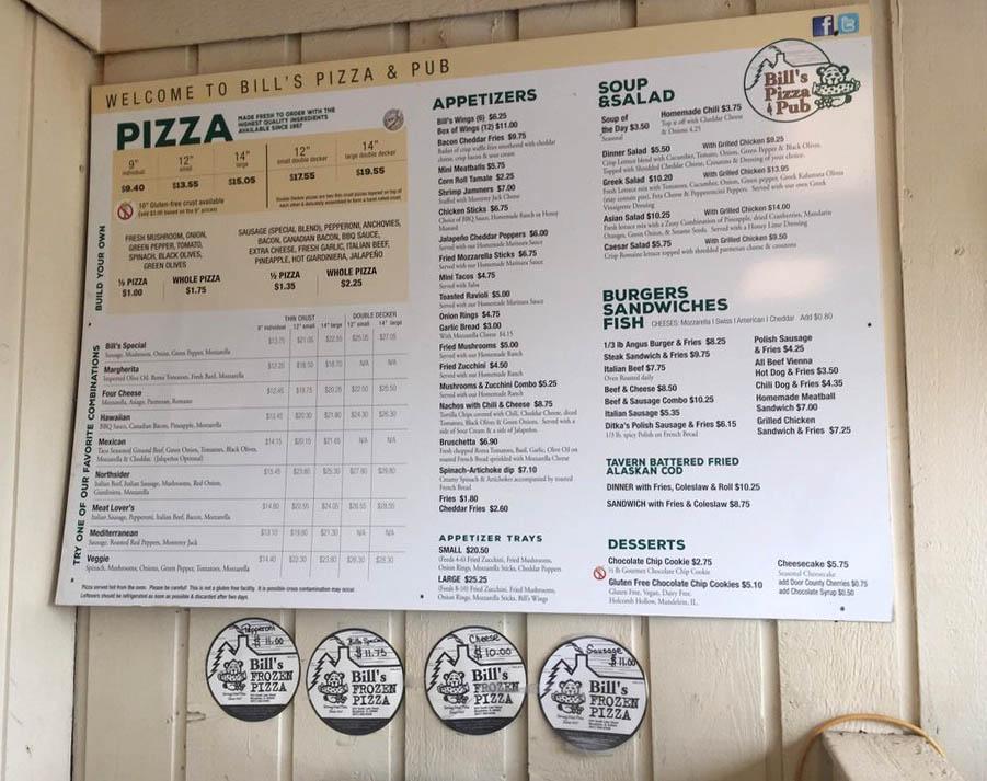 The menu at Bill's