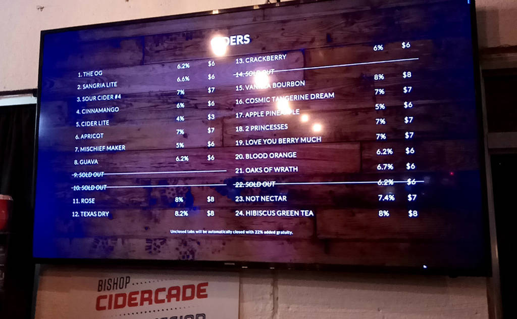 The cider list