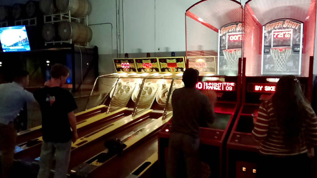 Skeeball and basketball games
