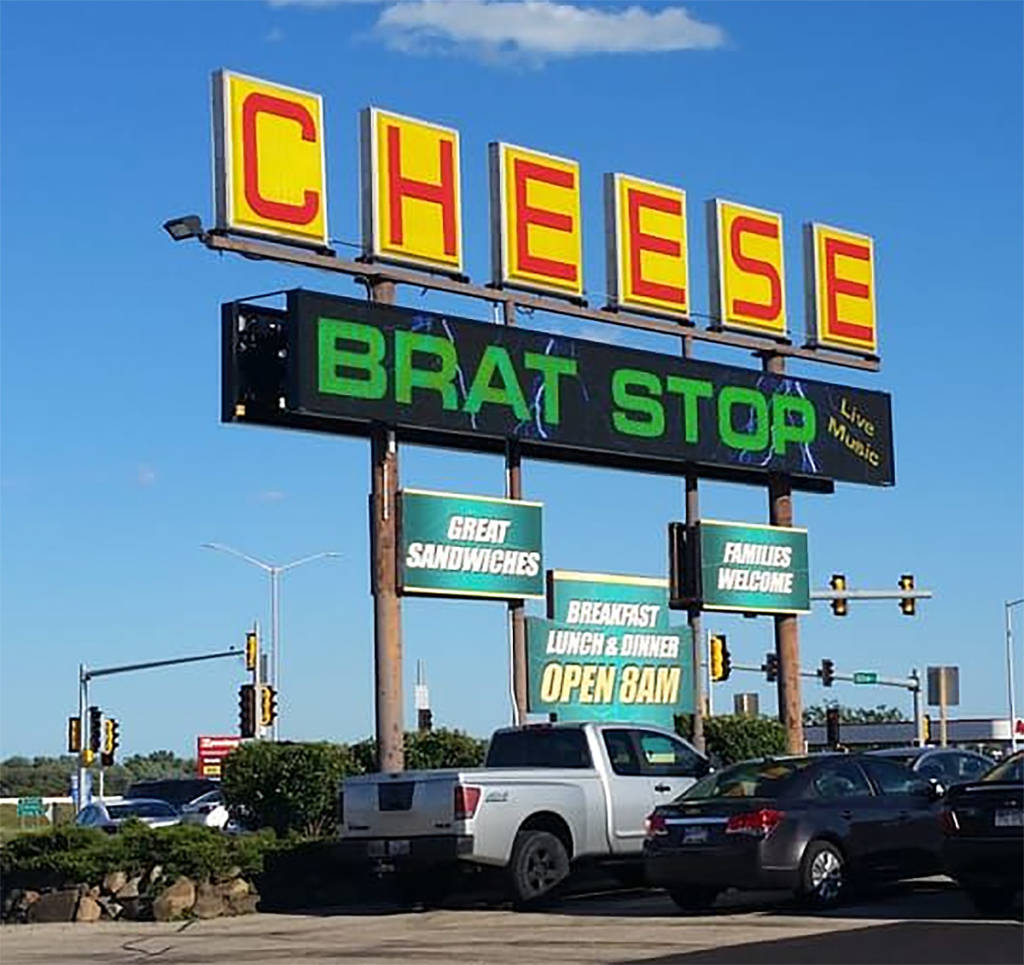 The 'hard-to-miss' sign outside The Brat Stop
