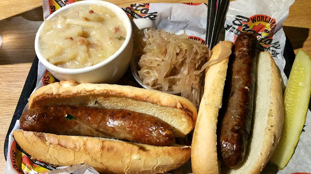 Brats with sauerkraut and potato salad