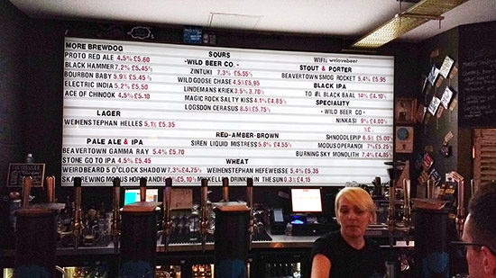 One of the beer lists