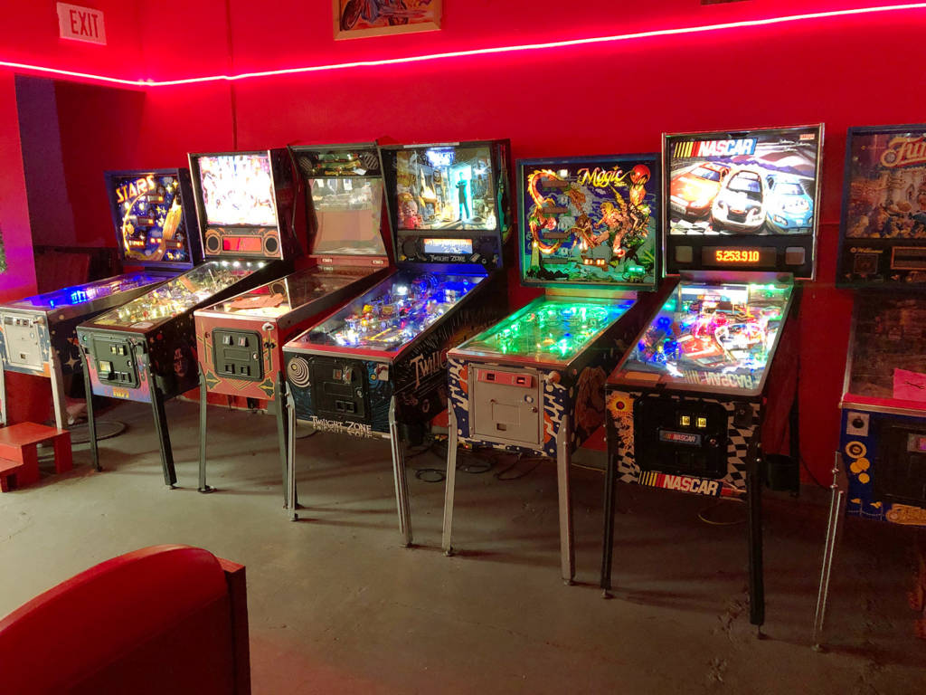 The left side of the pinball room