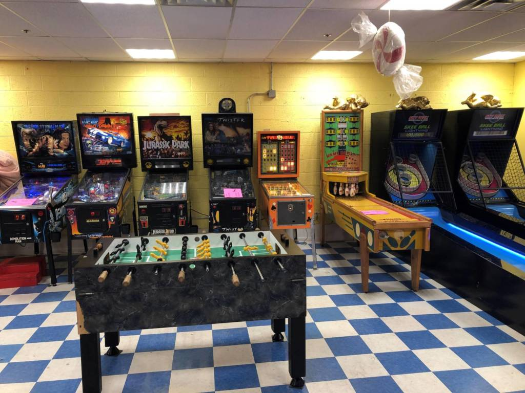 Five more pinball games along the second halfway down the left side
