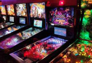 The main bank of seven pinballs