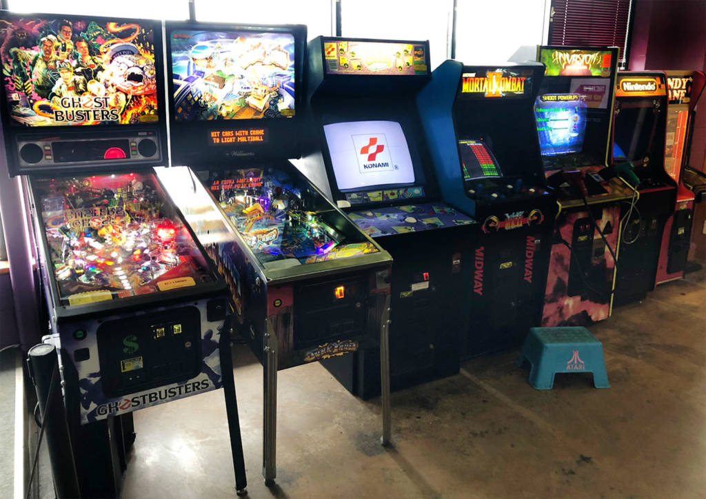 Pinballs and videos in the games area