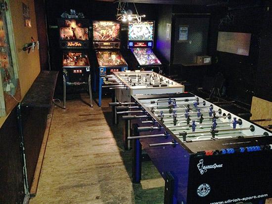 Foosball and pinball tables