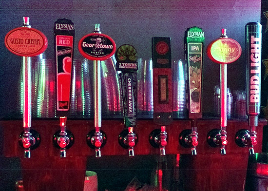 The draft beer selection