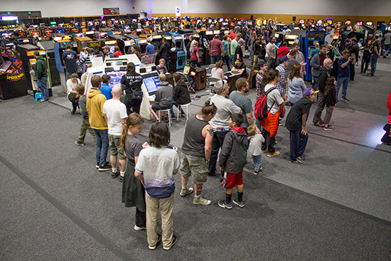 The queue to play the World's Largest Space Invaders