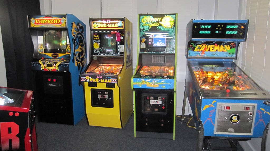 Pinballs featuring video game monitors along with the video game styled Varkon