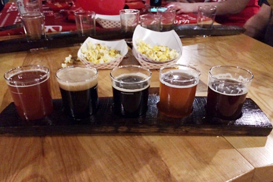 A beer flight sampler