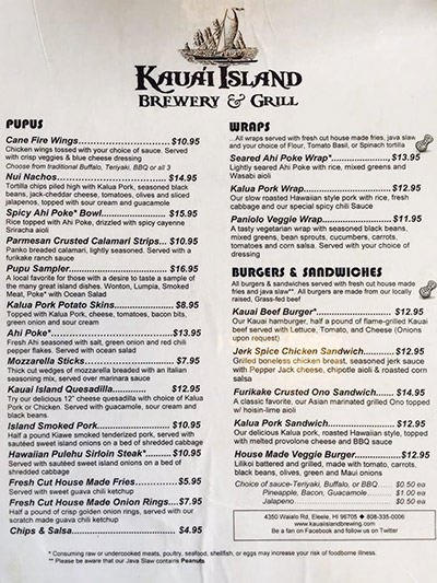 Page one of the food menu