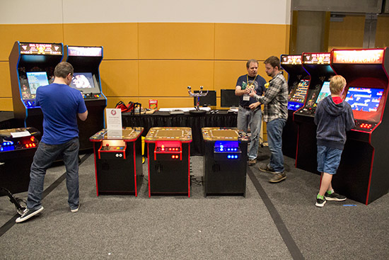 Red Floor Arcade's multi-game cabinets