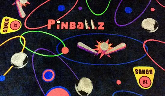The carpet design at Pinballz