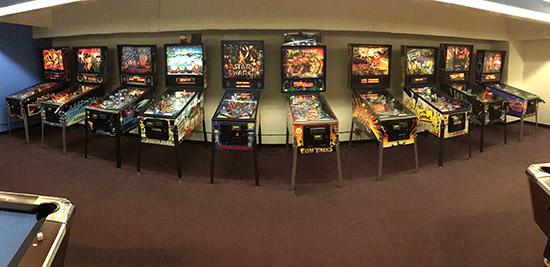 The pinball line-up at Mega Play