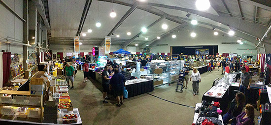 The vendor hall had some free-play games in the middle, and the tournaments at the back