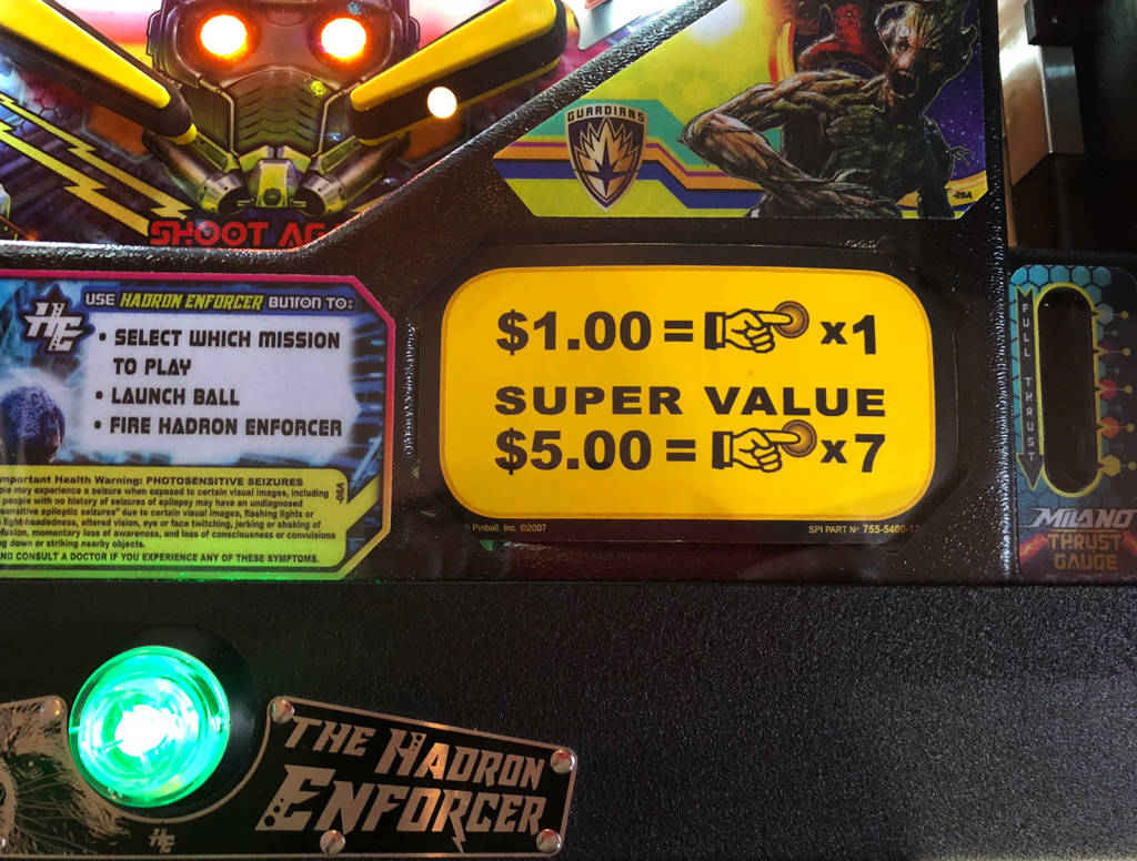 Both pinballs are priced the same at $1 per game