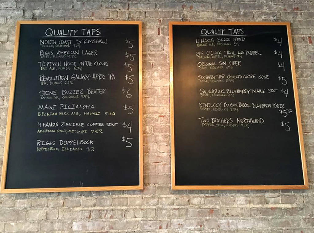 Quality's beer list