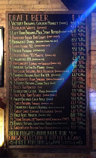 The draft beer list