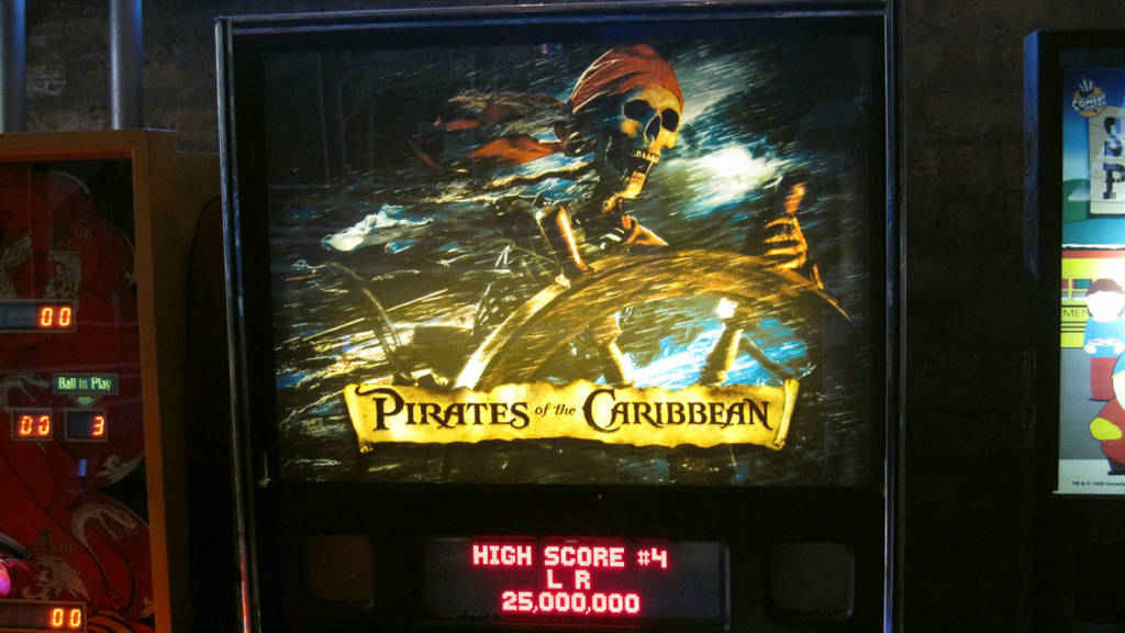 An amazing custom translite for Stern's Pirates of the Caribbean