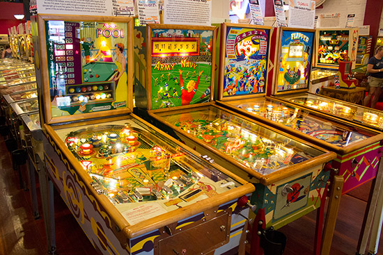 The four pinballs at the front of the collection