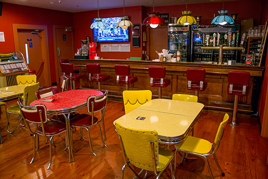 The upper bar area