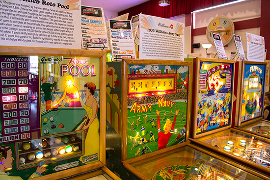 Information and high score cards for each pinball