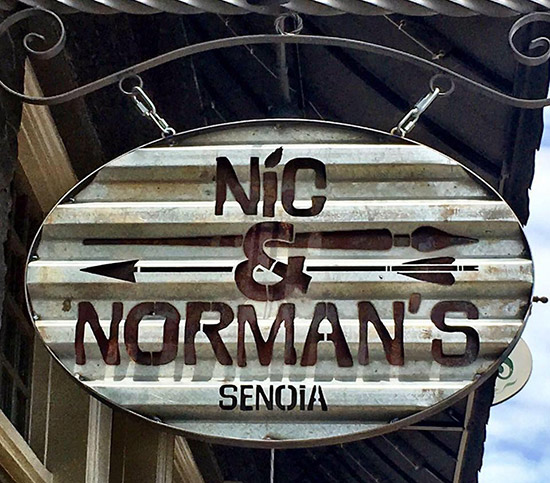 The sign outside Nic & Norman's restaurant