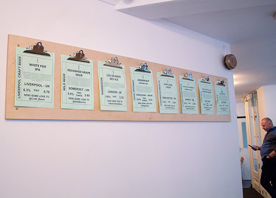 The eight beers available