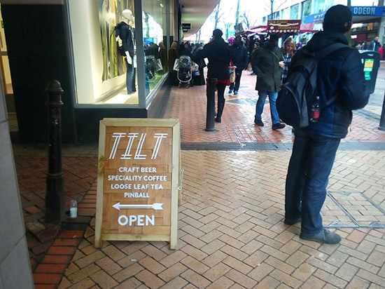 A Tilt sign on New Street