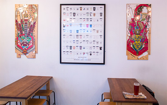 School-style tables with pinball and coffee wall decorations
