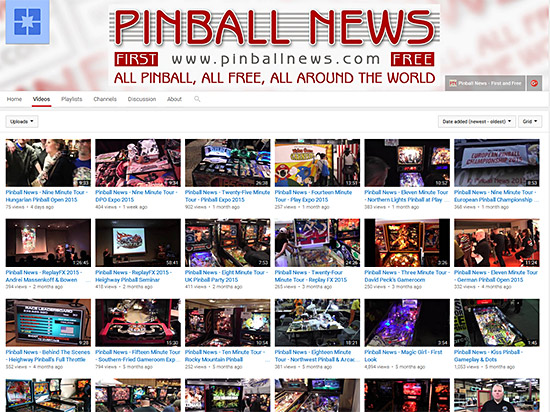 The Pinball News Videos YouTube channel